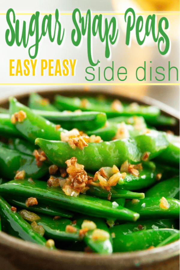 green beans in a bowl with crispy garlic bits