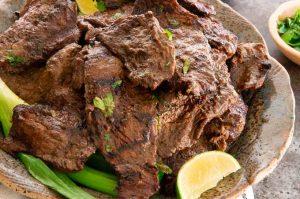 Thin strips of steak Carne Asada