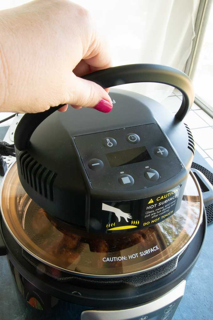 placing the Crisp Lid right on top of the instant pot to make it an airfryer