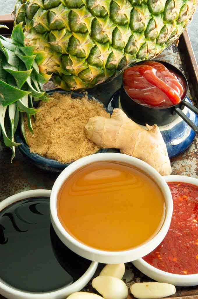 Ingredients for hul Huli sauce: pineapple, ketchup, sugar, soy, garlic and chili sauce