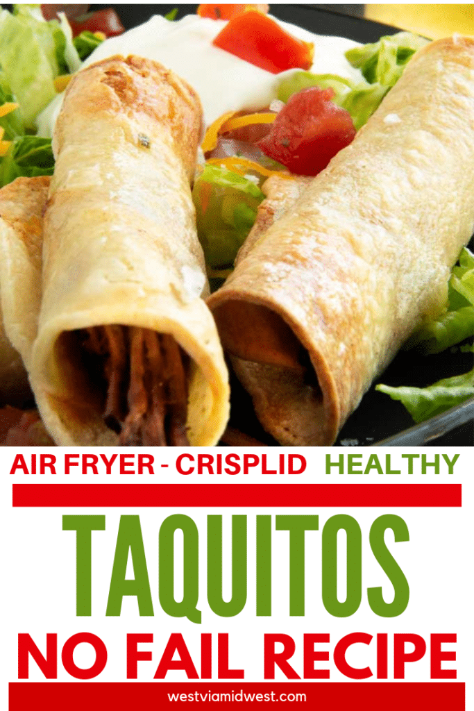 Pinterest image with close up of crispy taquitos on it