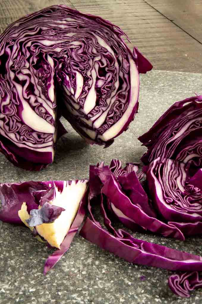 Cutting of the red cabbage for German cabbage