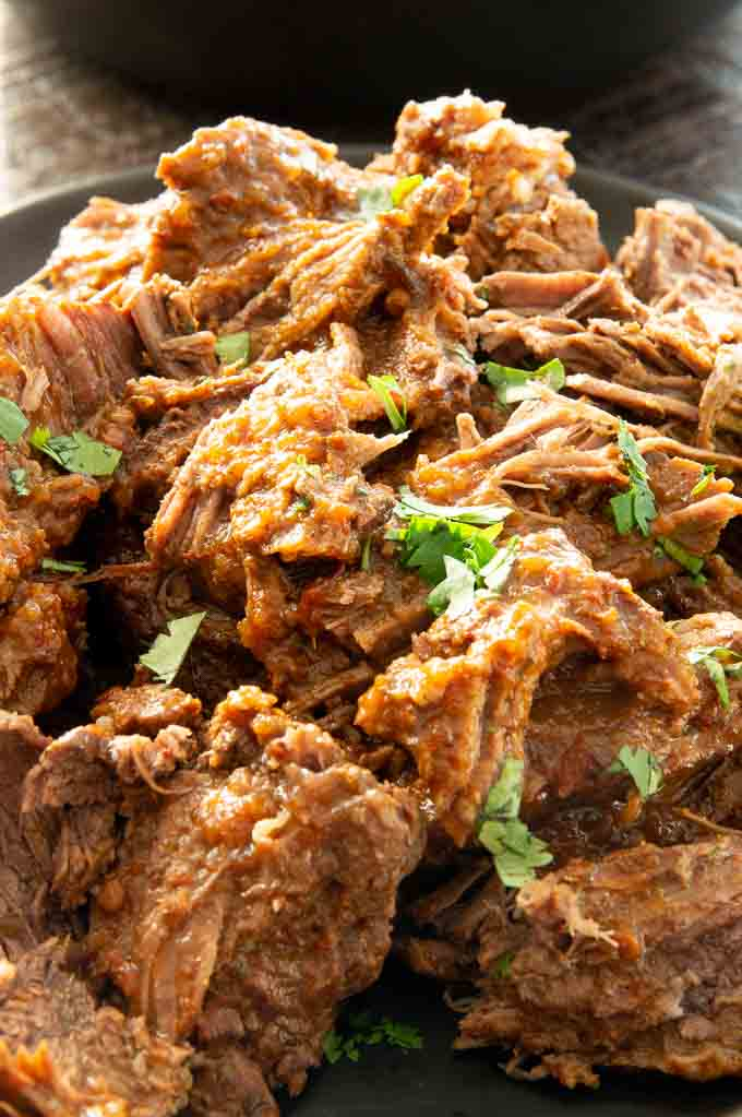 pulled beef barbacoa in a chipotle sauce