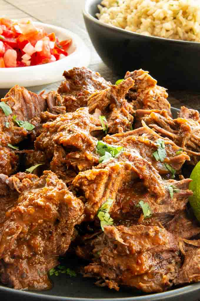 Shredded Mexican beef in chipotle sauce ready to serve