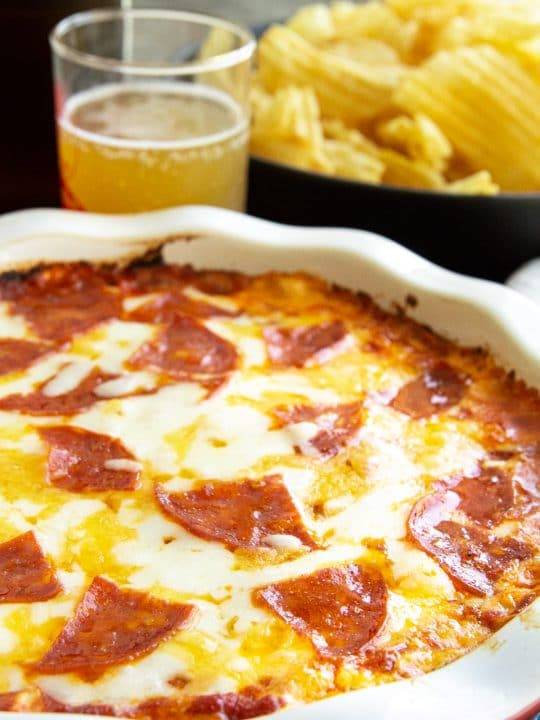 hot pizza style dip in a pie plate