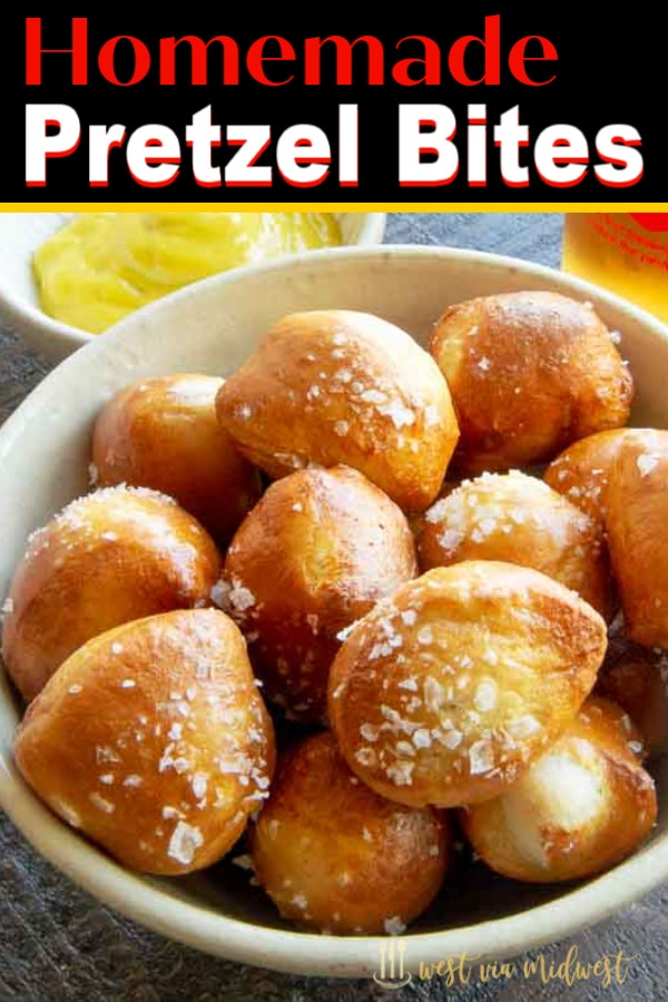 bowl of soft pretzels  next to mustard