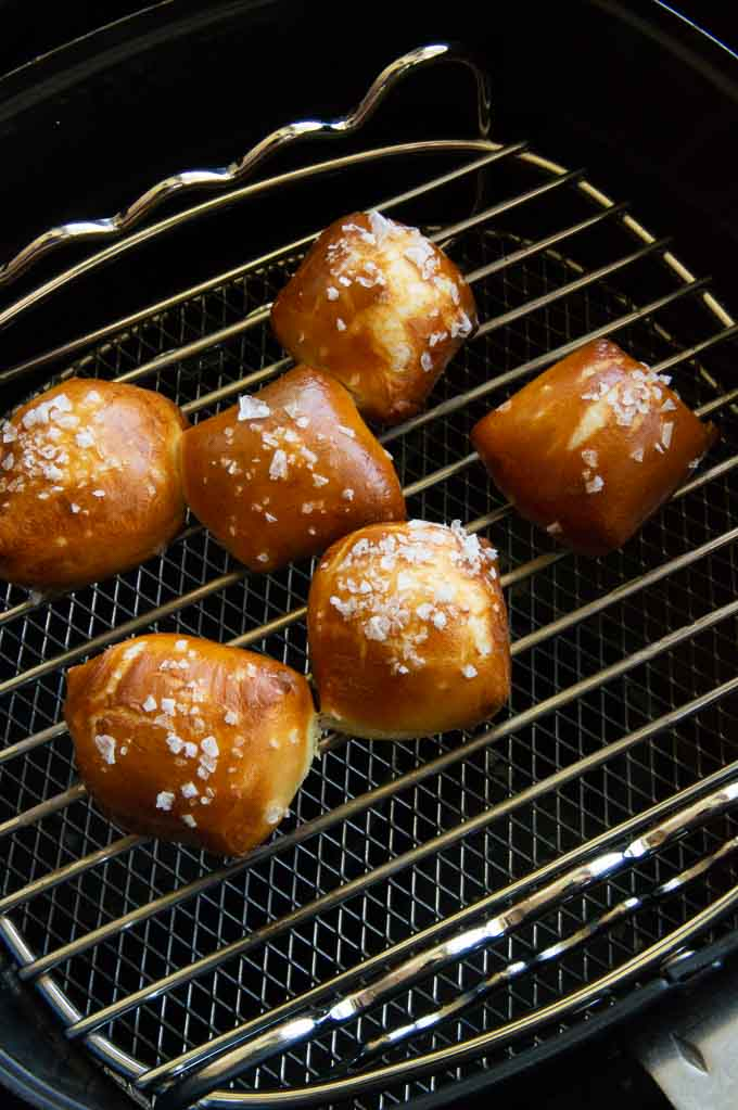 just cooked pretzels out of the ove