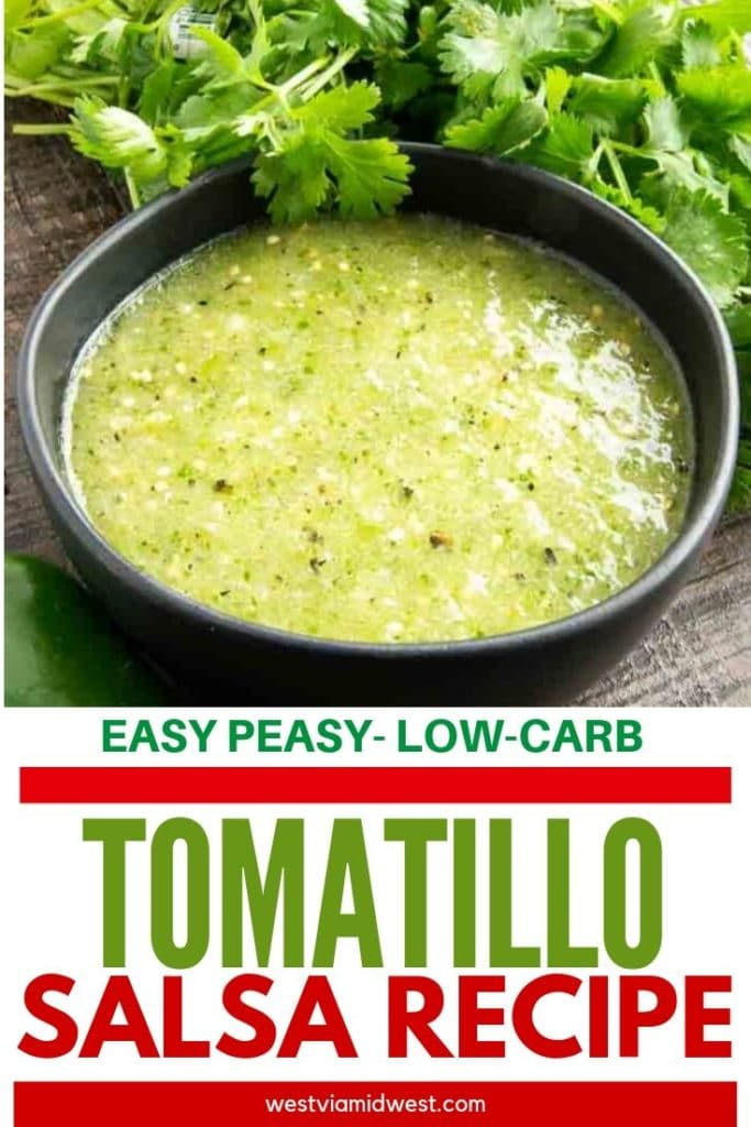 Pinterest image of tomatillo green salsa