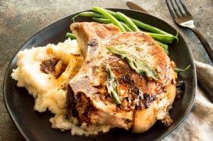 Thanksgiving dinner alternative on a plate: Stuffed Pork chops