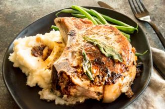 Thanksgiving dinner alternative on a plate: Stuffed Pork chops