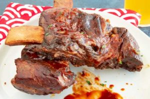 pressure cooked beef ribs with meat falling of the bone