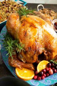 Golden Brown moist turkey on a platter