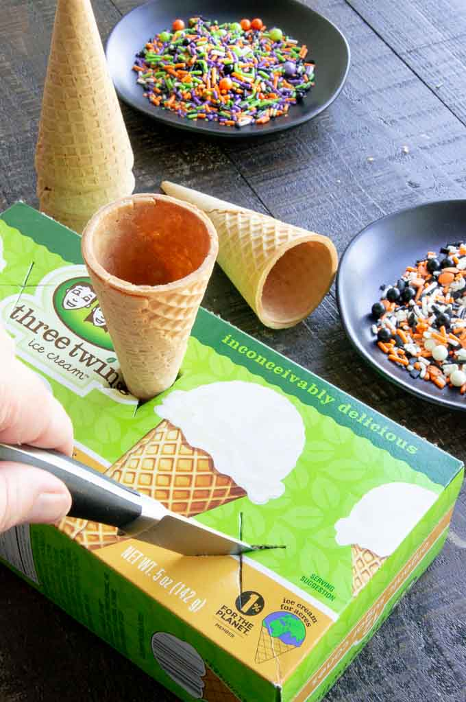 Making a holder for the dipped cones out of a cardboard box