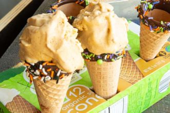 Pumpkin ice cream in chocolate sprinkle dipped cones