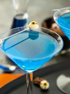 Blue (Ghouls Blood) Cocktail with eyeball olive