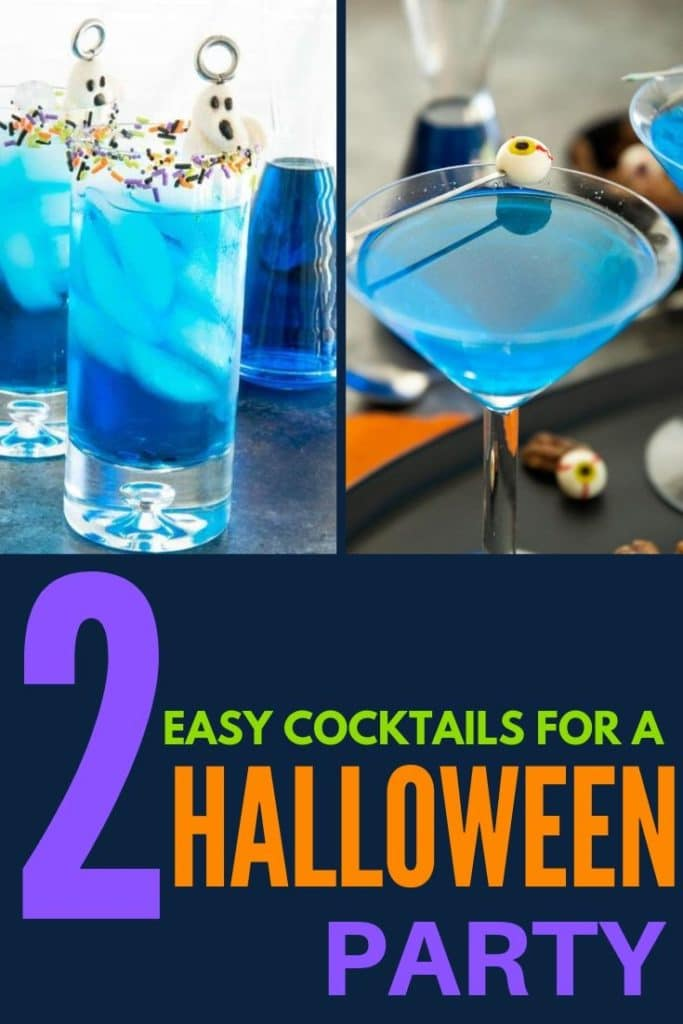 Halloween Cocktail shown in a tall glass with sprinkles and one in a martini glass with eyes as the olive