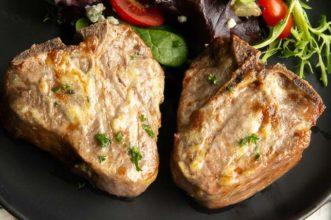 Horseradish glaze on lamb chops on a plate