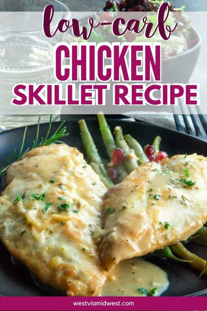Chicken Skillet dinner on a plate with green beans