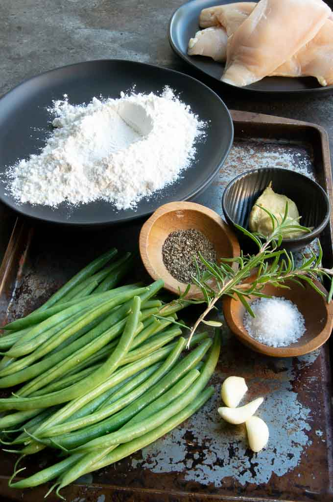 Ingredients for Chicken Saute: Chicken, flour, green beans, mustard, salt, pepper and rosemary