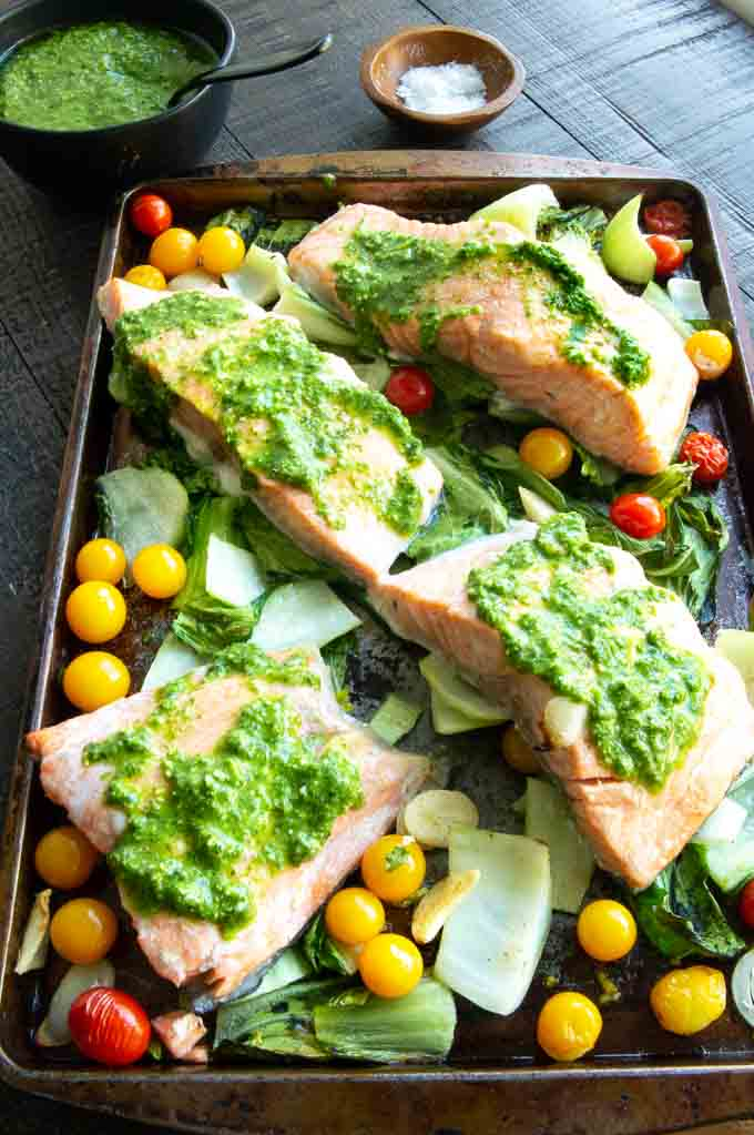 Pesto coated Salmon on a sheet pan from the oven