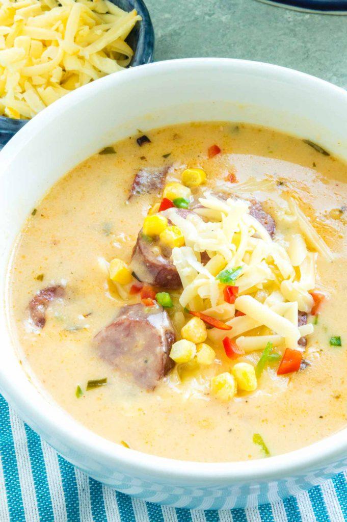full bowl of bratwurst soup