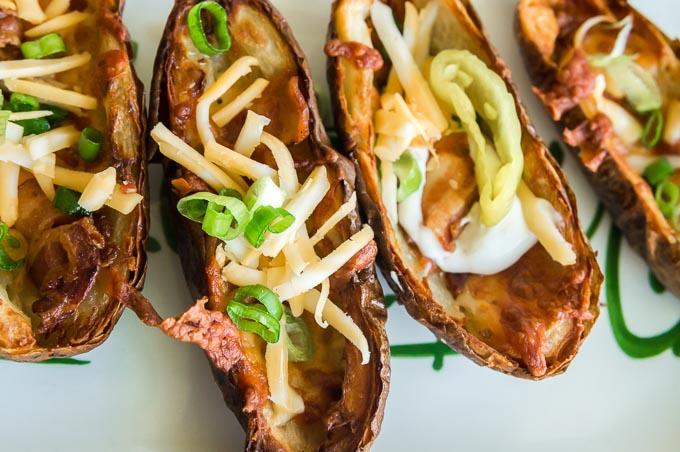 serving platter of loaded air fryer potato skins