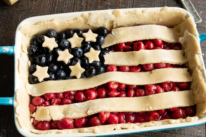 flag shaped cherry blueberry pie, unbaked