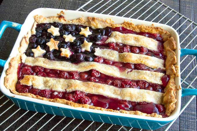 Flag slab pie just out of the oven