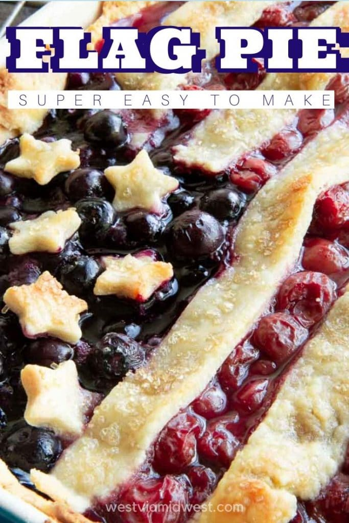 fresh out of the oven with bubbling berries in flag pie
