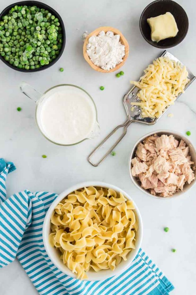 tuna, peas, cheese, milk butter and noodles for tuna casserole