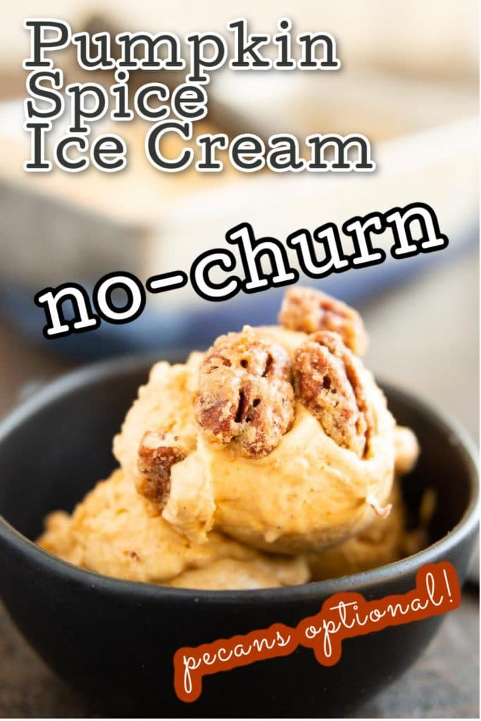 bowl of pumpkin spice ice cream with pecan pralines on top