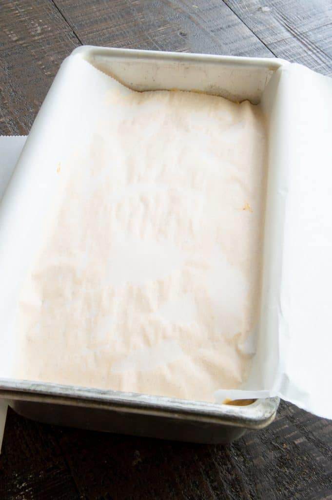 covered pan with parchment paper