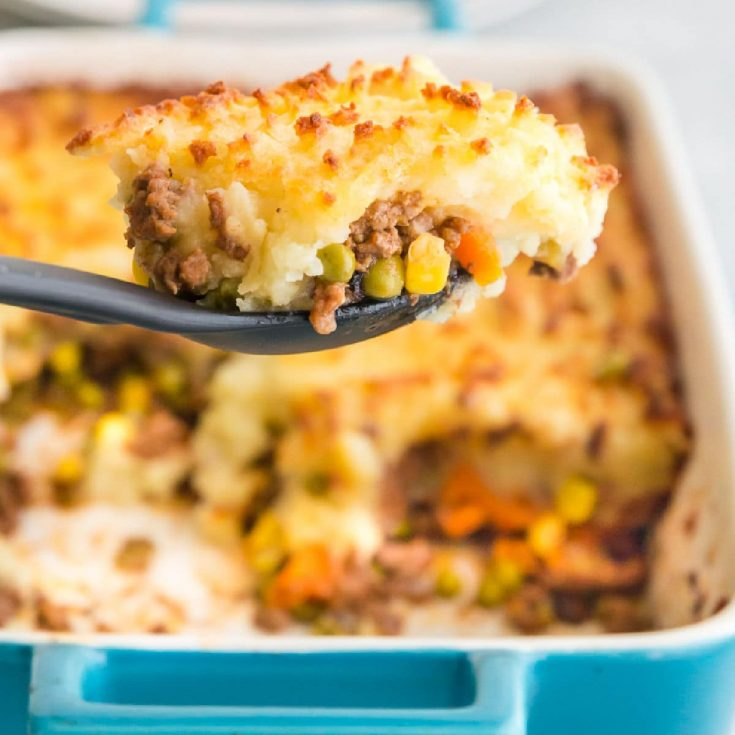 serving shepherds pie from a baking dish