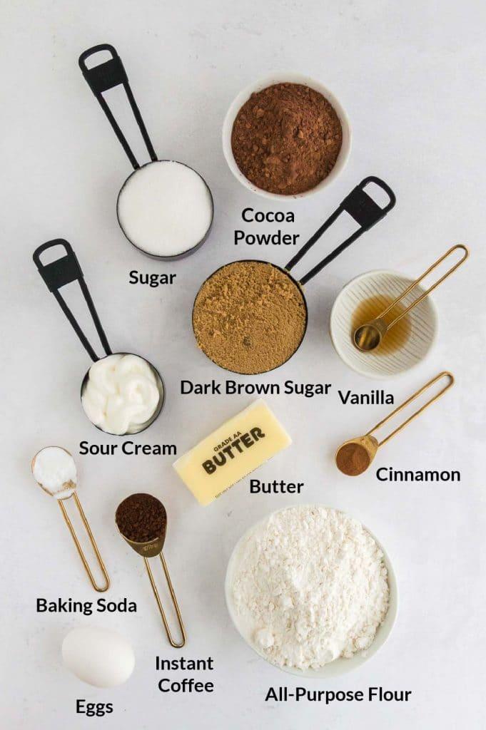 Ingredients to make crinkle cookies labeled
