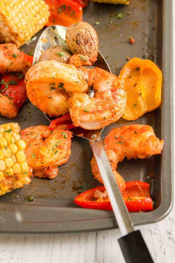 pan of shrimp and veggies