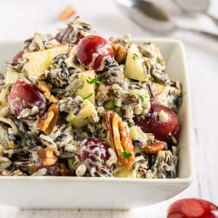 bowl of make ahead wild rice salad