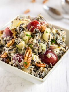 plumb full bowl of wild rice loaded salad