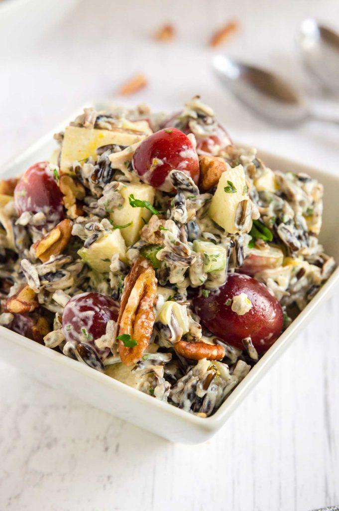 plumb full bowl of wild rice loaded salad