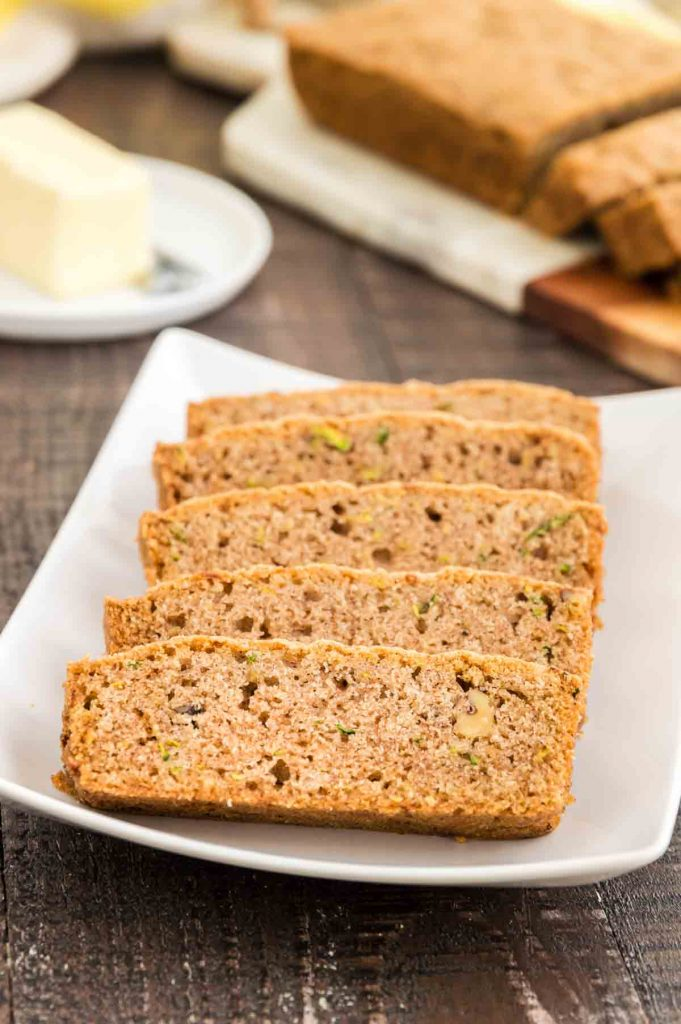 Even baked zucchini bread cut into thick slices