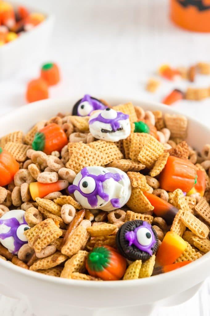 bowl of check mix with Oreo eyeballs