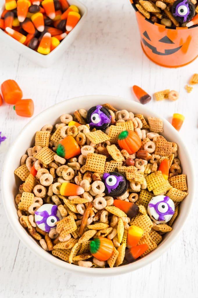 bowls of halloween snacks