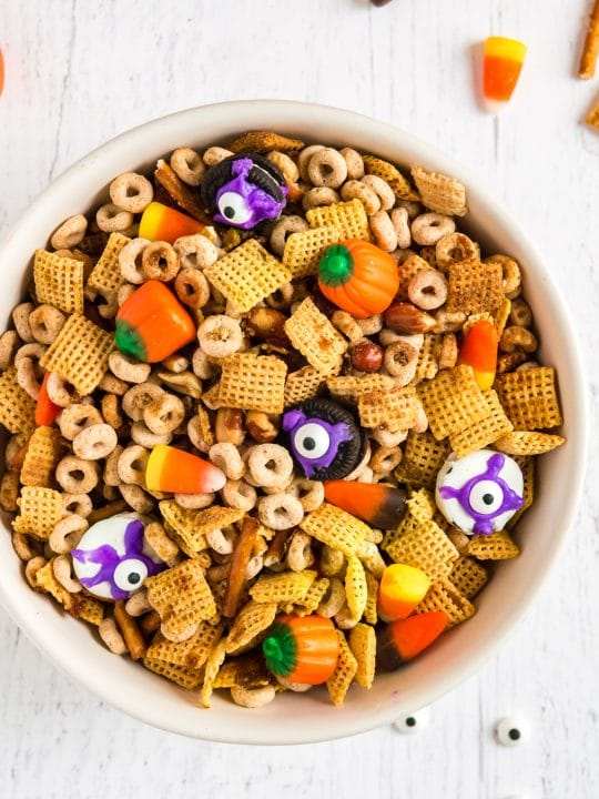 bowl of halloween candy and chex mi