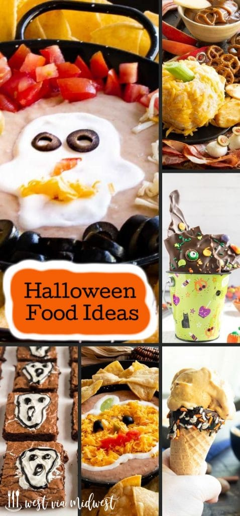 collage of halloween themed food