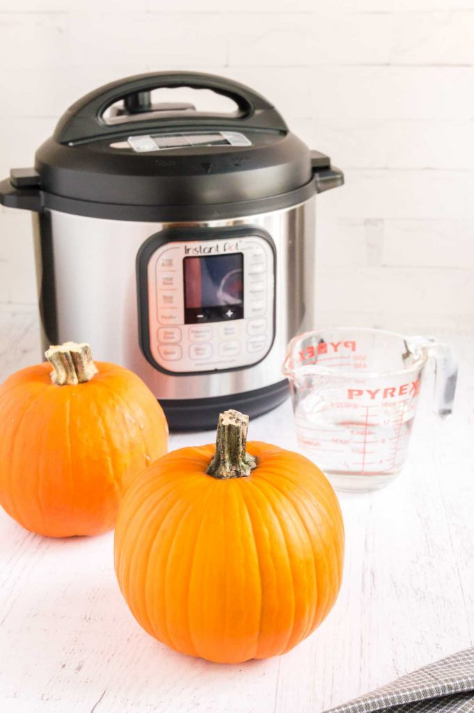 pumpkins, water and an instant pot on a table