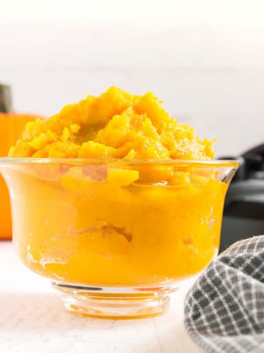 glass bowl with homemade pumpkin puree