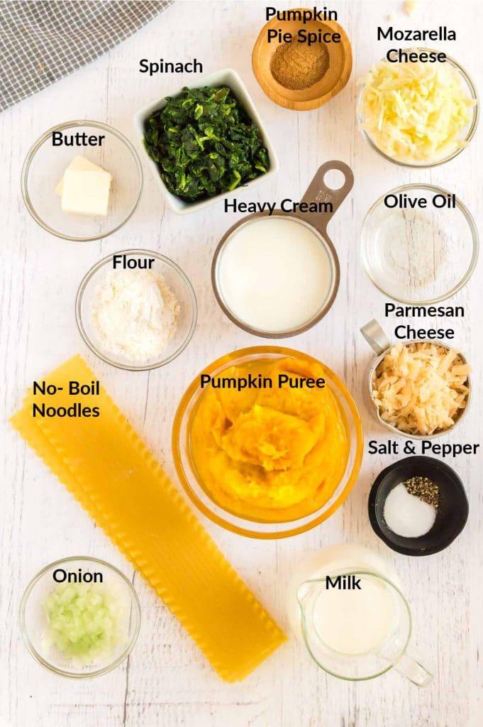 Ingredients for Pumpkin Lasagna