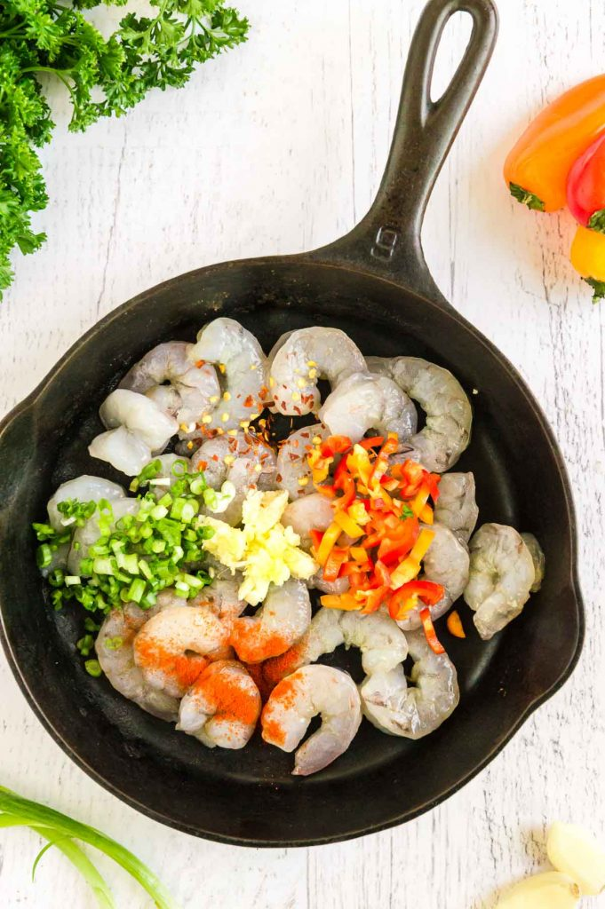 Shrimp and vegetables raw in a pan