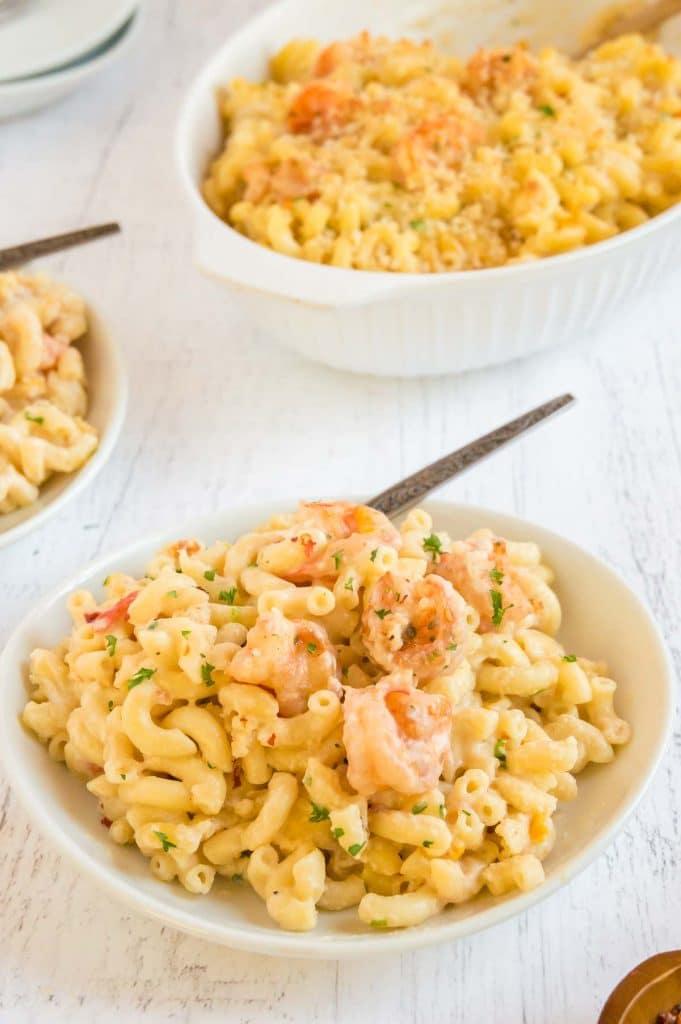 full bowls of comfort food shrimp Mac and cheese