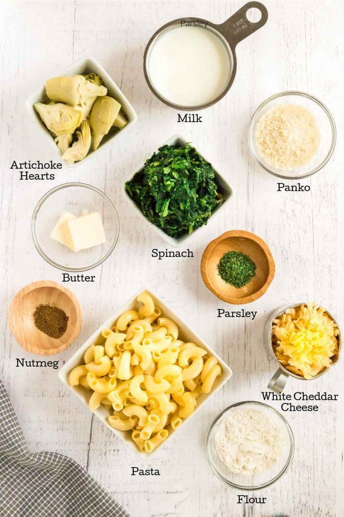 ingredients for artichoke pasta