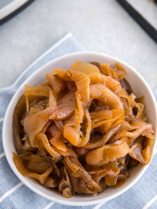 bowl of caramelized onions